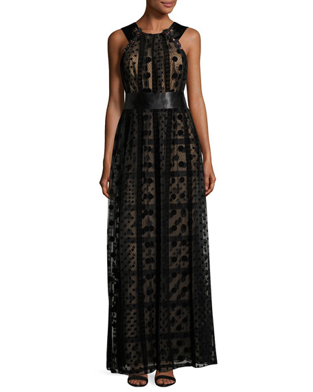 Marchesa Notte Sleeveless Grecian Tulle Overlay Gown, Black