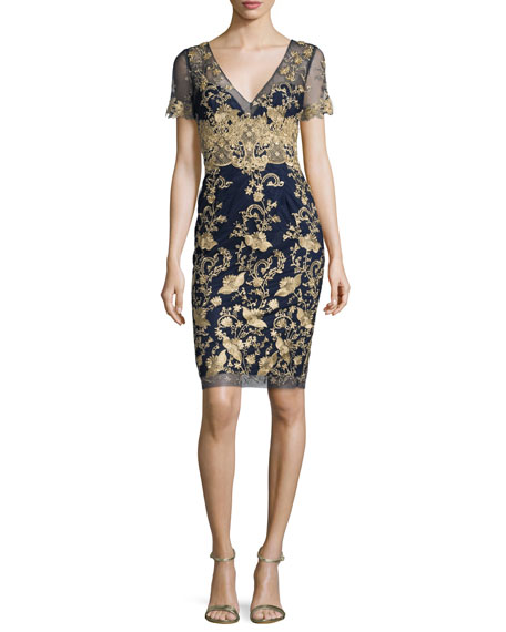 Marchesa Notte Short-Sleeve Embroidered Tulle Cocktail Dress,