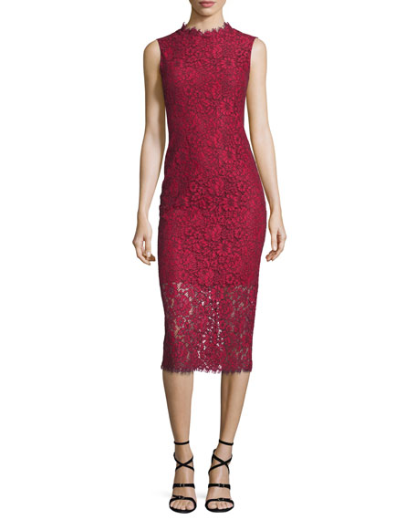 Sleeveless Lace Midi Sheath Dress, Garnet/Jet