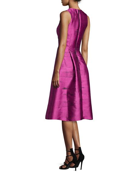 Sleeveless Printed Pleated Taffeta Dress, Pink Topaz