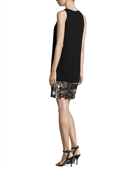 Sleeveless Crepe & Jersey Tank Dress, Black