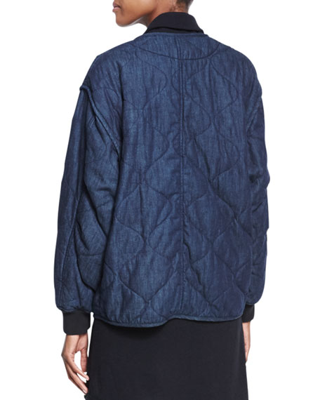 Addison Quilted Denim Jacket, Indigo
