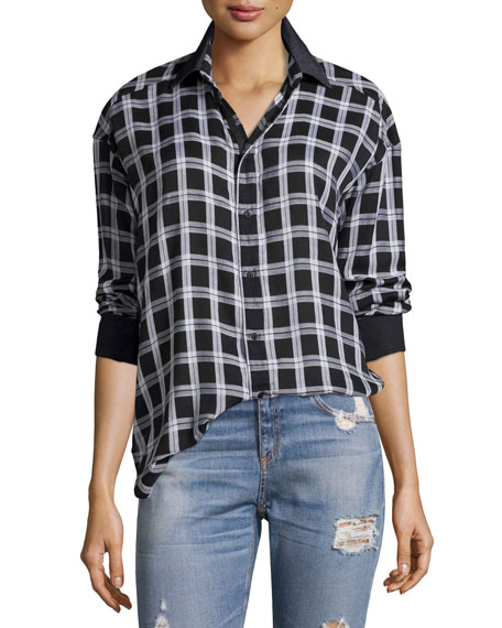 rag & bone/JEAN Plaid Boyfriend Shirt, Black