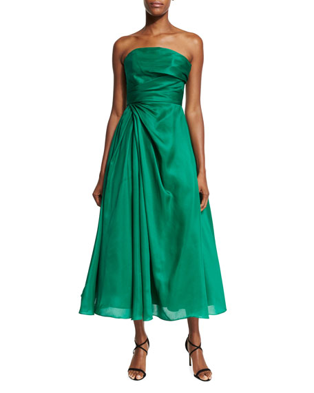 ML Monique Lhuillier Strapless Ruched Mikado Cocktail Dress,