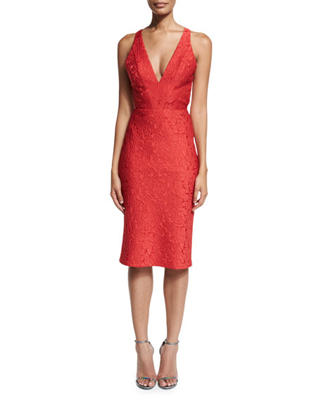 ML Monique Lhuillier Sleeveless Jacquard Cocktail Dress, Redberry