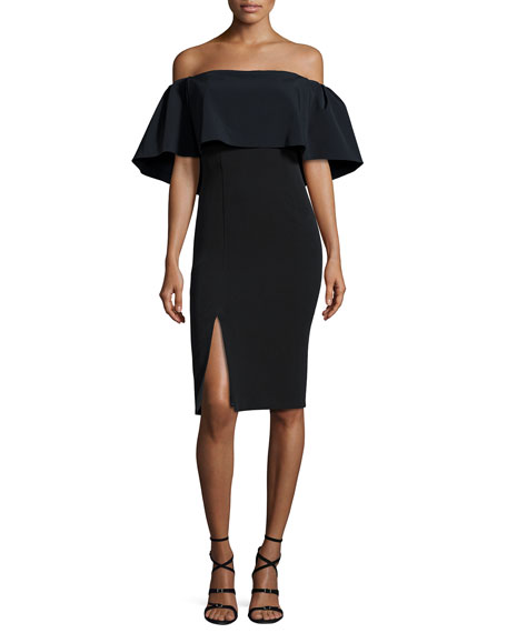 ML Monique Lhuillier Off-the-Shoulder Popover Cocktail Dress,