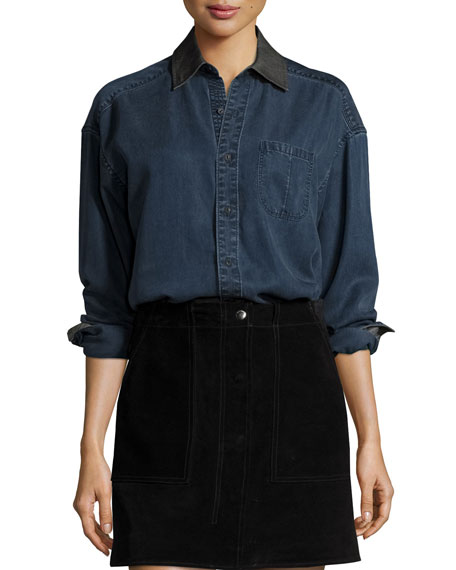 rag & bone/JEAN Denim Boyfriend Shirt, Indigo