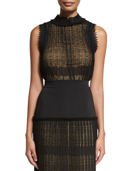 Alexis Mills Sleeveless Plisse Lace Top, Black