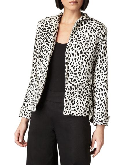 Neiman Marcus Leopard-Print Funnel-Neck Jacket, Black/White
