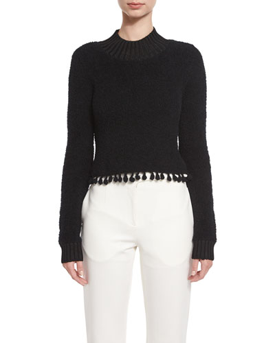 Fuzzy Tassel-Trim Mock-Neck Sweater, Black