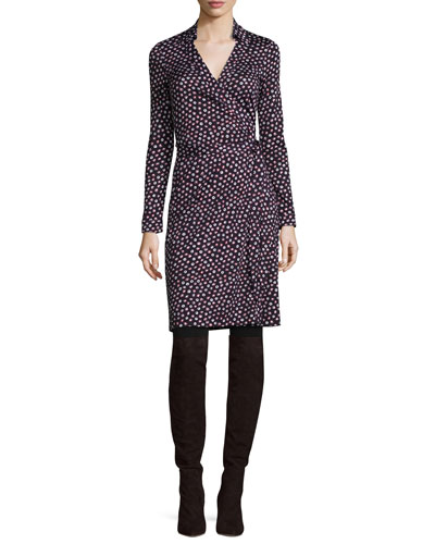 New Jeanne Two Printed Wrap Dress, Pirouette Dot Navy