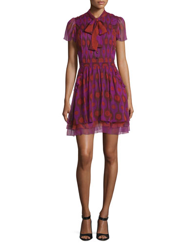 Marisa Printed Silk Tie-Neck Dress, Parry Petite Amethyst