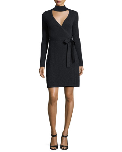 Janeva Knit Wrap Dress, Charcoal
