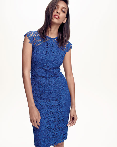 Cap-Sleeve Lace Sheath Dress, Azure