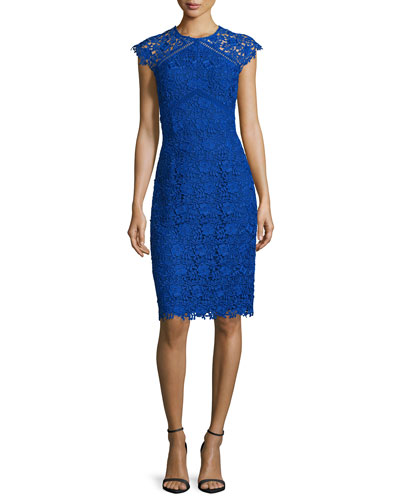 Cap-Sleeve Lace Sheath Dress, Azure