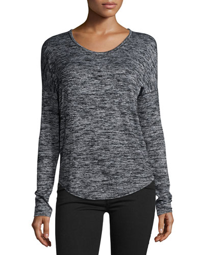 Hudson Heathered Long-Sleeve T-Shirt, Black Multi