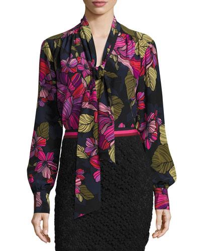 Long-Sleeve Floral Tie-Neck Top, Multicolor