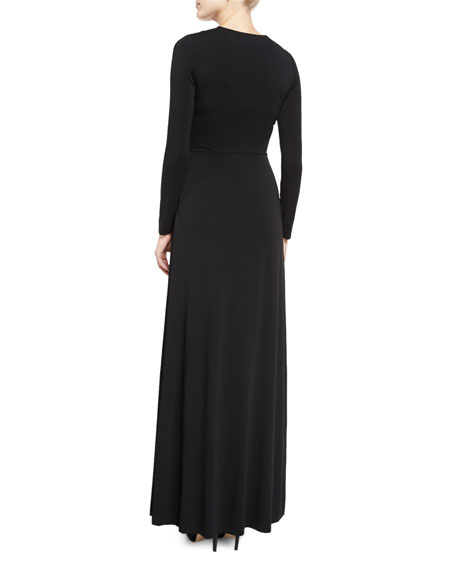 Salina Tie-Front Long-Sleeve Maxi Dress