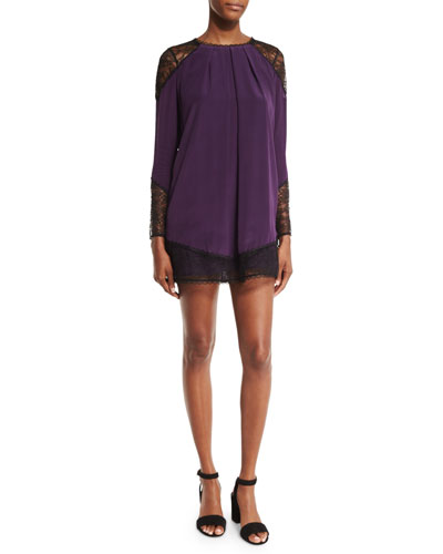 Gracie Lace-Panel Pleated Tunic, Plum