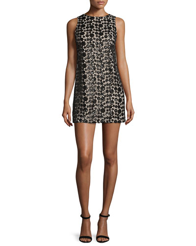 Clyde Sequined Lace Shift Dress, Black/Sesame