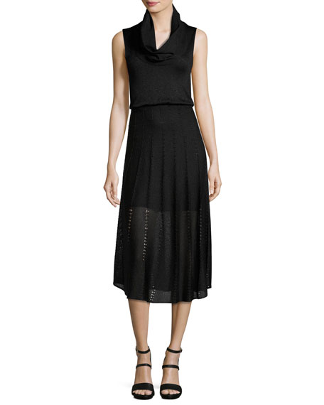 Alice + Olivia Jacey Cowl-Neck Blouson Dress, Black