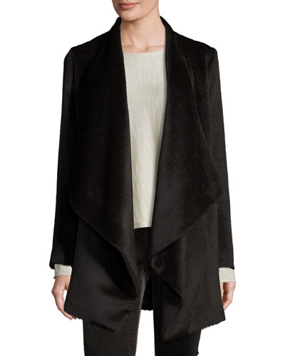 Lightweight Drape-Front Jacket, Coffee