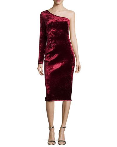 One-Shoulder Velvet Cocktail Dress, Damsel