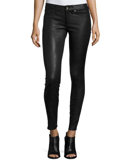 rag & bone/JEAN Skinny Leather Ankle Pants, Black