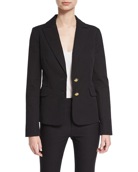 Derek Lam 10 Crosby Stretch Two-Button Blazer, Black