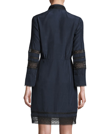 Pintucked Silk Lace-Trim Dress, Midnight