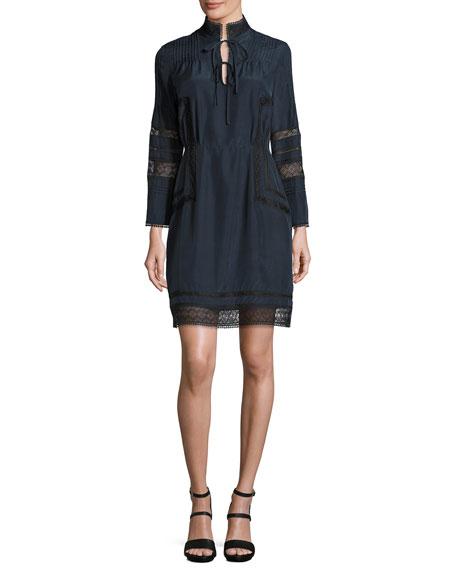 Derek Lam 10 Crosby Pintucked Silk Lace-Trim Dress,