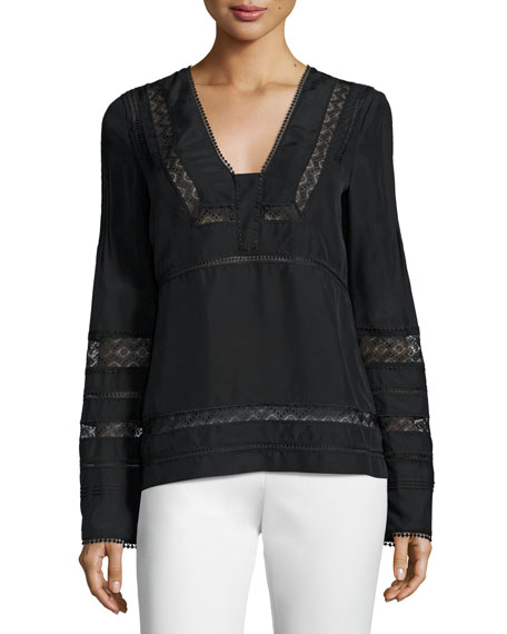 Derek Lam 10 Crosby Long-Sleeve Silk Lace-Trim Blouse,