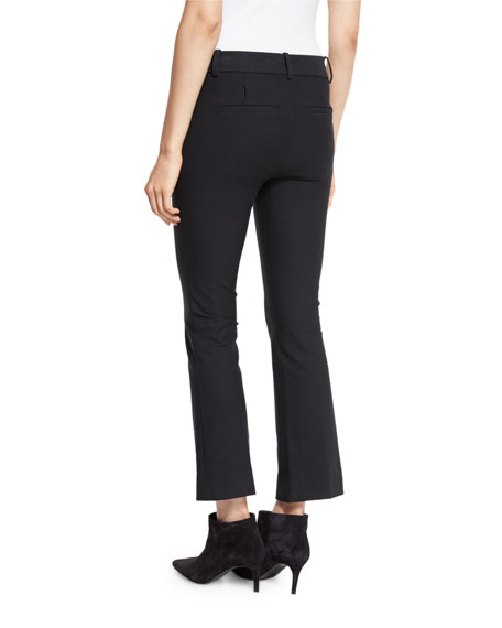 Image 2 of 3: Cropped Flare Stretch Trousers, Black