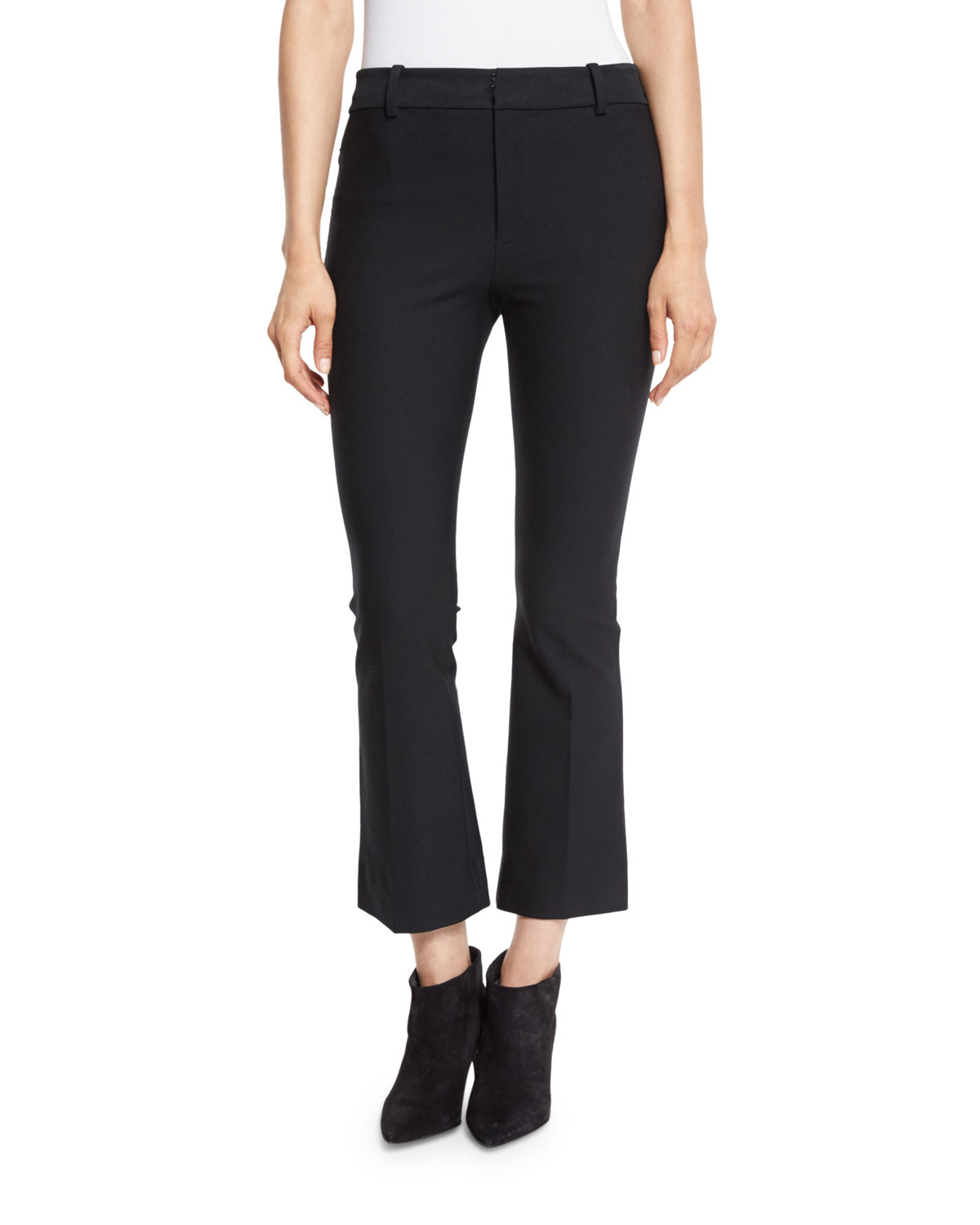 Cropped Flare Stretch Trousers, Black