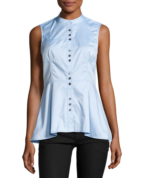 Derek Lam 10 Crosby Sleeveless Poplin Peplum Top,