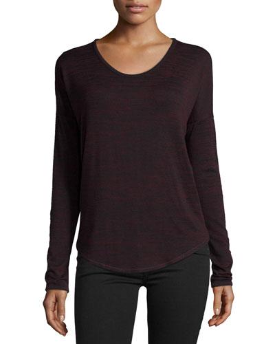 Hudson Heathered Long-Sleeve T-Shirt, Port/Black Multi