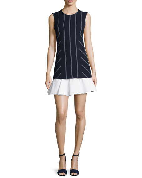 Derek Lam 10 Crosby Sleeveless Striped Flounce Dress,