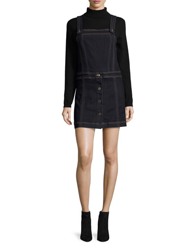 Denim Pinafore Overall Dress, Clean Rinse