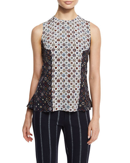 Derek Lam 10 Crosby Sleeveless Floral Silk Shell,