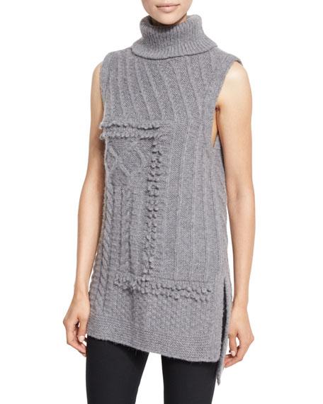 Derek Lam 10 Crosby Sleeveless Oversized Turtleneck Sweater,