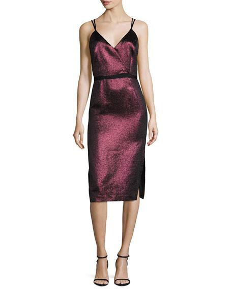 Soleil Metallic Strappy Cocktail Dress