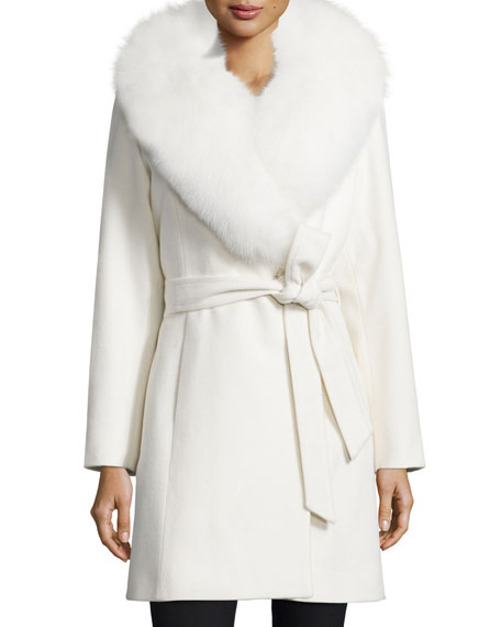 Fur-Collar Belted Wrap Coat