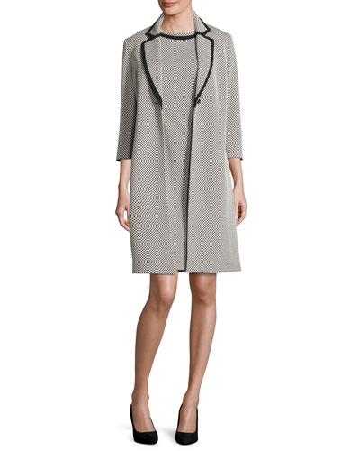 Sleeveless Patterned Sheath Dress w/ Jacket, Ivory/Black