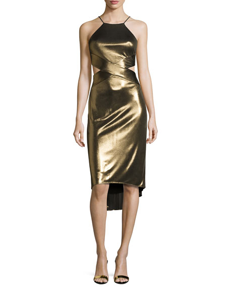 Halston Heritage Sleeveless Cutout Metallic Jersey Midi Dress,