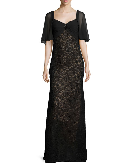 Lace Sweetheart Cape Gown, Black/Nude