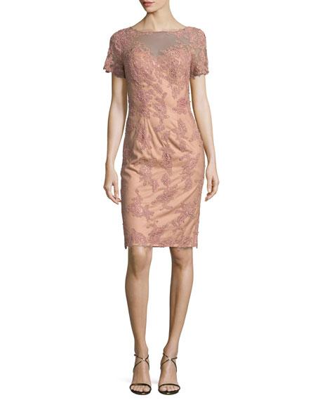 La Femme Short-Sleeve Embroidered Sheath Dress, Mauve