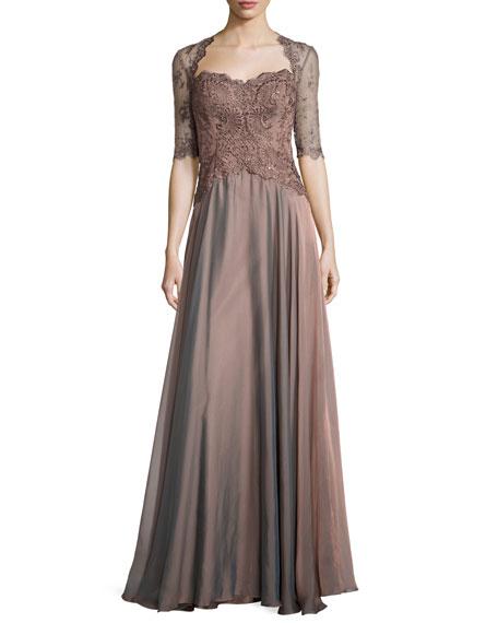 Lace & Taffeta Sweetheart Gown, Cocoa