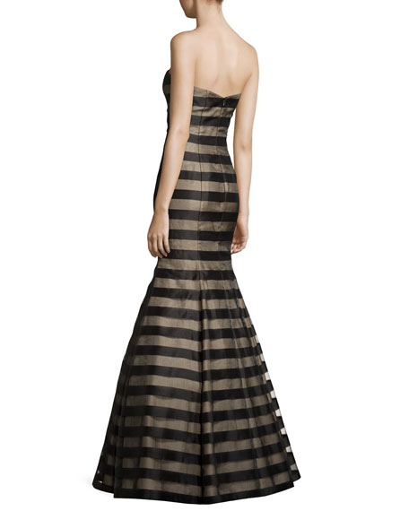 Strapless Fil Coupe Mermaid Gown, Black/Nude