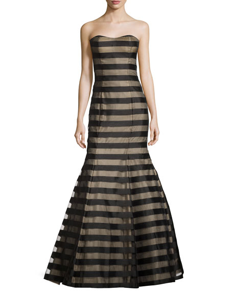 La Femme Strapless Fil Coupe Mermaid Gown, Black/Nude