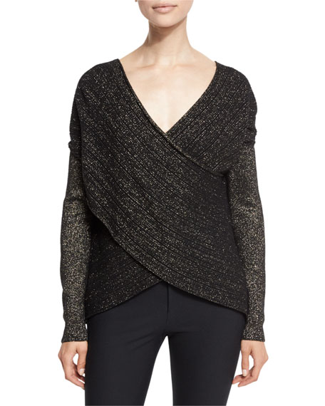 Derek Lam 10 Crosby Cross-Front Metallic Wool-Blend Sweater
